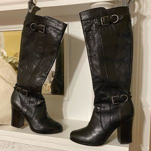 Frye Double Buckle Zip Up Healed At the Knee Boots